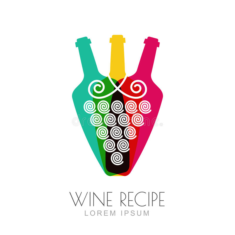 Vector la vid de uva y las botellas de vino, diseño negativo del logotipo del espacio ilustración del vector
