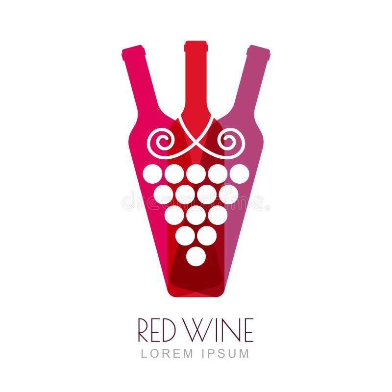 Vector la vid de uva y las botellas de vino, diseño negativo del logotipo del espacio stock de ilustración