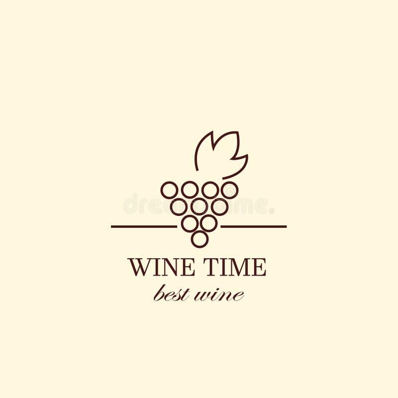 Vector la vid de uva y las botellas de vino, plantilla del diseño del logotipo stock de ilustración