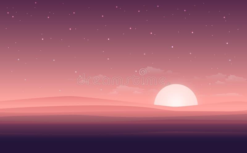 Vector la vista piana moderna del paesaggio con la notte del deserto Illustrazione con la vista di tramonto nel deserto o il back illustrazione vettoriale