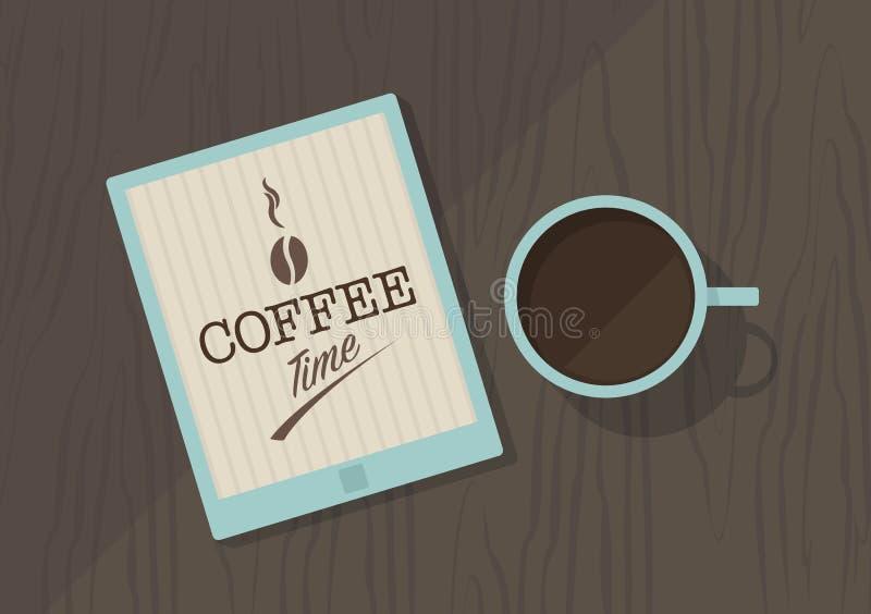 Vector la vista superior de la taza de café, y de la PC de la tableta stock de ilustración