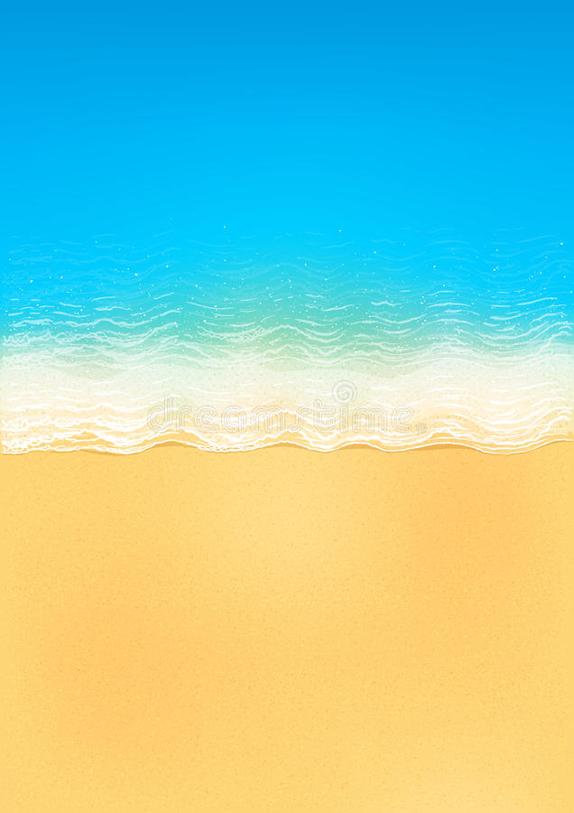Vector la vista superiore della spiaggia calma dell'oceano con le onde blu, giallo sabbia e la schiuma bianca illustrazione vettoriale