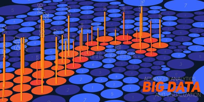 Vector la visualización grande abstracta de los datos 3D con nodos Diseño estético del infographics futurista ilustración del vector