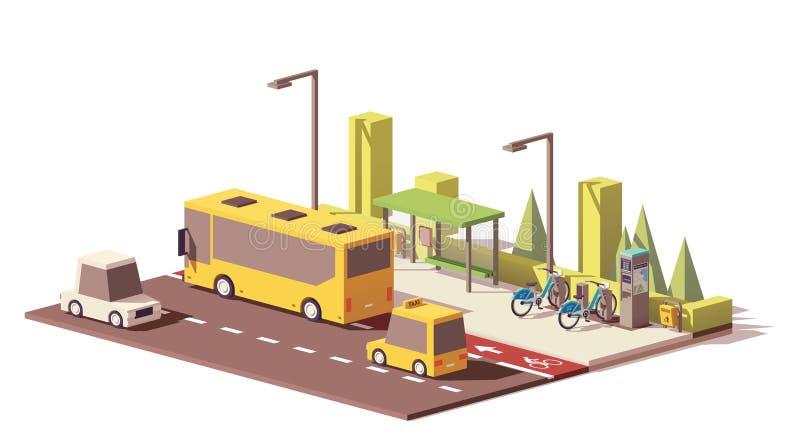 Vector laag poly modern openbaar vervoer vector illustratie