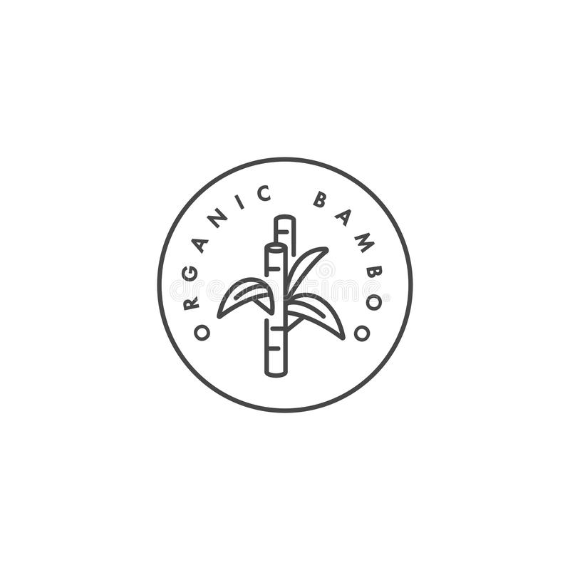 Vector label or badge for organic and natural fabric. Symbol bamboo tag for clothes. royalty free illustration