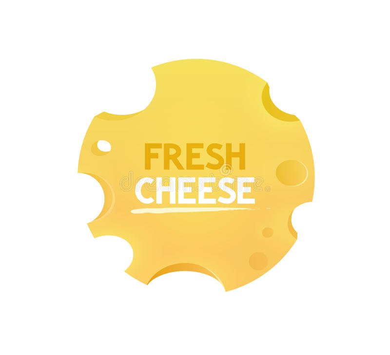 Vector Label with Cheese round form. Slice of Cheese round form with caption 'Fresh Cheese'. Vector Label isolated on white background vector illustration