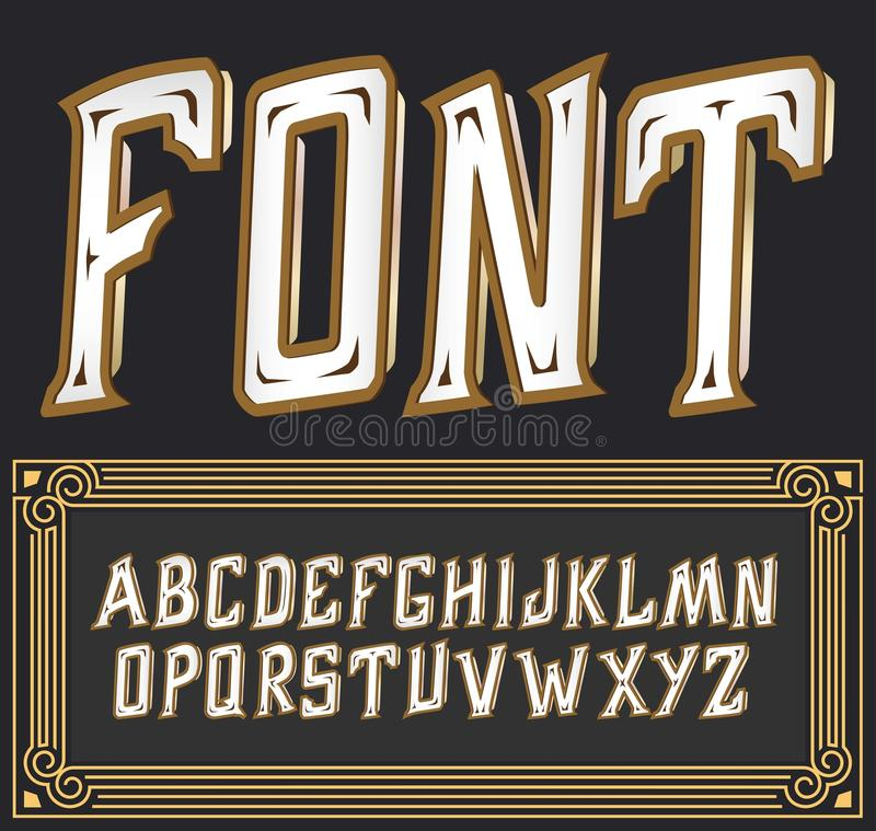 Vector label font with art deco ornament. Tower on dark background stock illustration