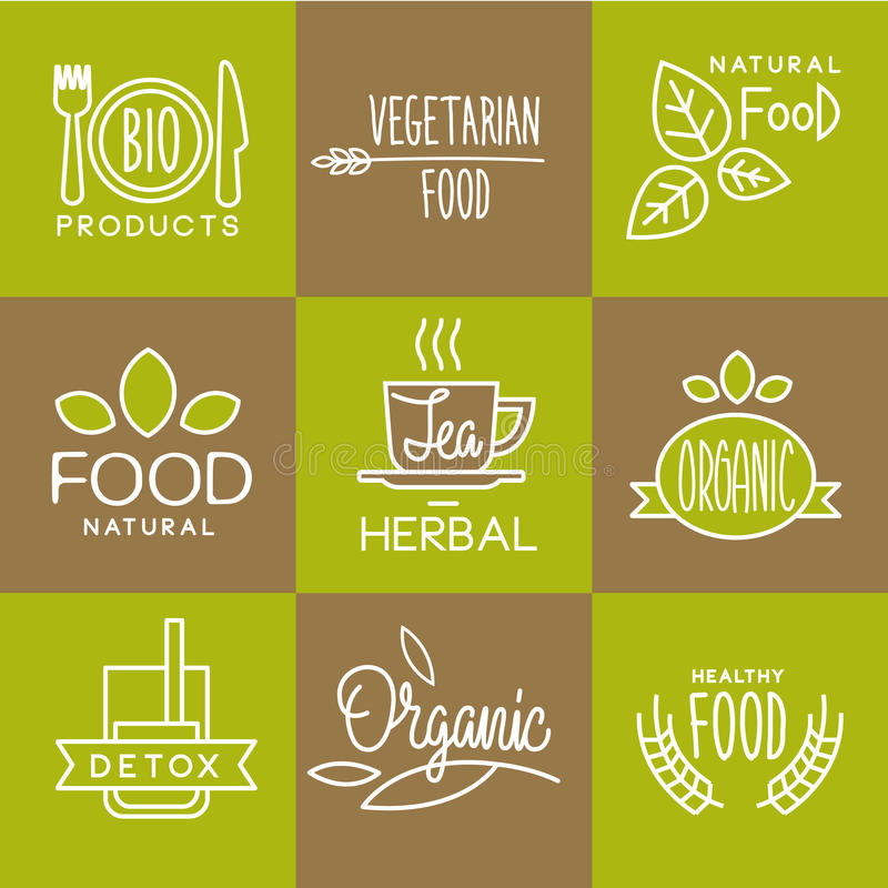 Vector Label Organic and Natural Badges. Vector labels in trendy mono line style organic and natural badges for fresh farm products and food packaging of linear vector illustration
