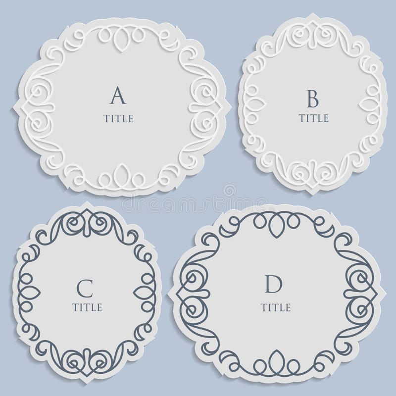 Vector label, vintage frame for an inscription, calligraphic ornament, template to cut paper royalty free illustration