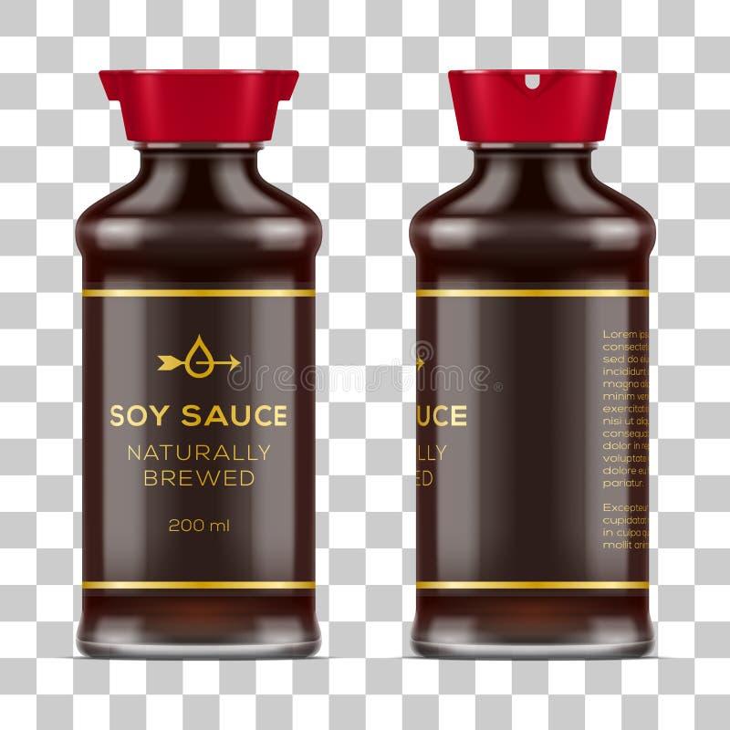 Vector labeled full glass soy sauce bottle on transparent background. Realistic mockup illustration royalty free illustration
