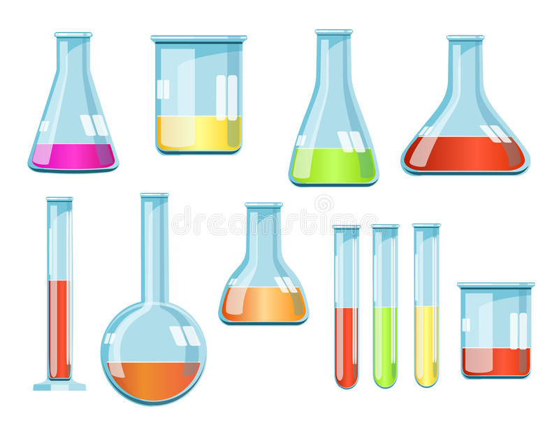 Vector laboratory glassware with liquids of different colors royalty free illustration