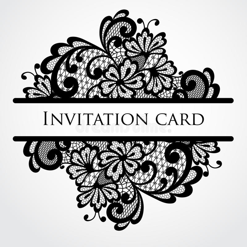 Vector lace card. Vintage black ornament royalty free illustration