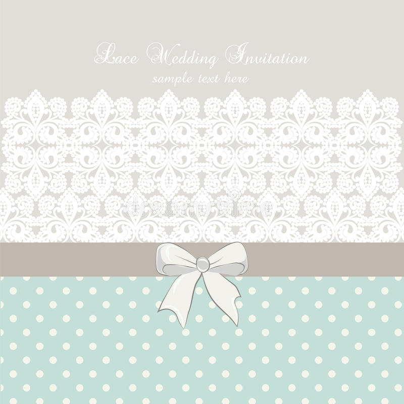Vector lace crochet card background with bow and retro dotted design. Wedding invitation or greeting card design with lace handmade doily pattern. Beautiful vector illustration