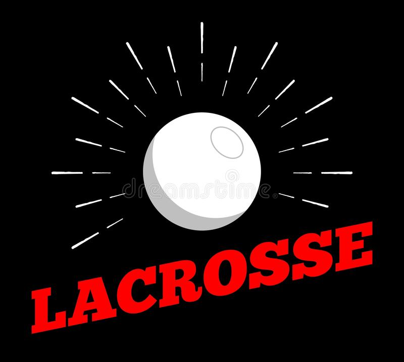 Vector lacrosse sport ball logo icon sun burtst print hand drawn vintage line art vector illustration