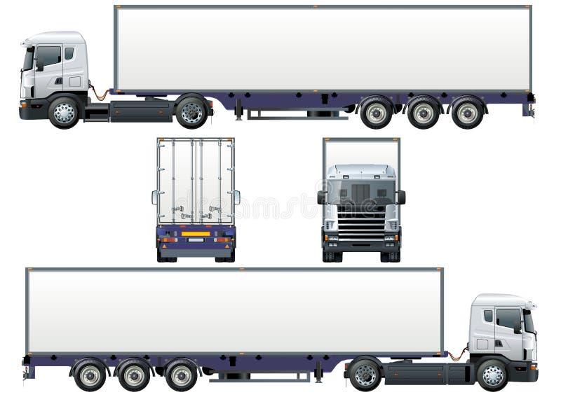 Vector ladings semi-vrachtwagen stock illustratie