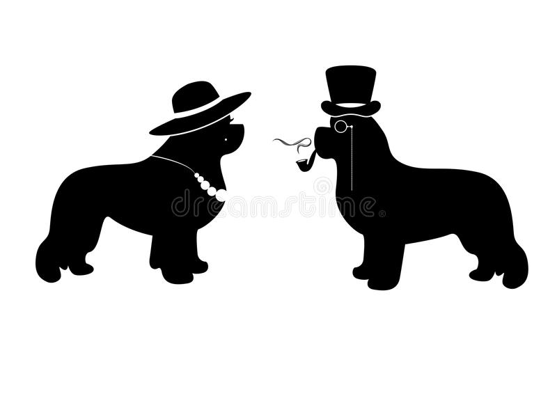 Vector Lady and Gentleman illustration with newfoundland dogs (for example as a WC signs). Vector Lady and Gentleman illustration with newfoundland dogs vector illustration