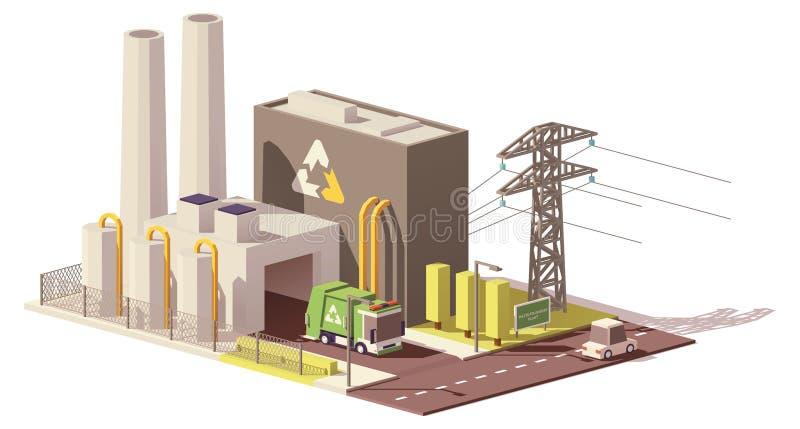 Vector lage poly afval-aan-energie installatie royalty-vrije illustratie