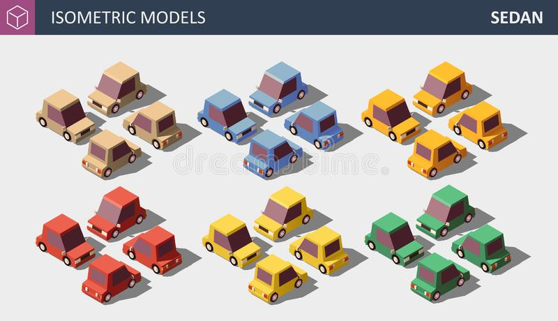 Vector Lage Poly Persoonlijke die Auto's in Zes Kleuren worden geplaatst stock illustratie
