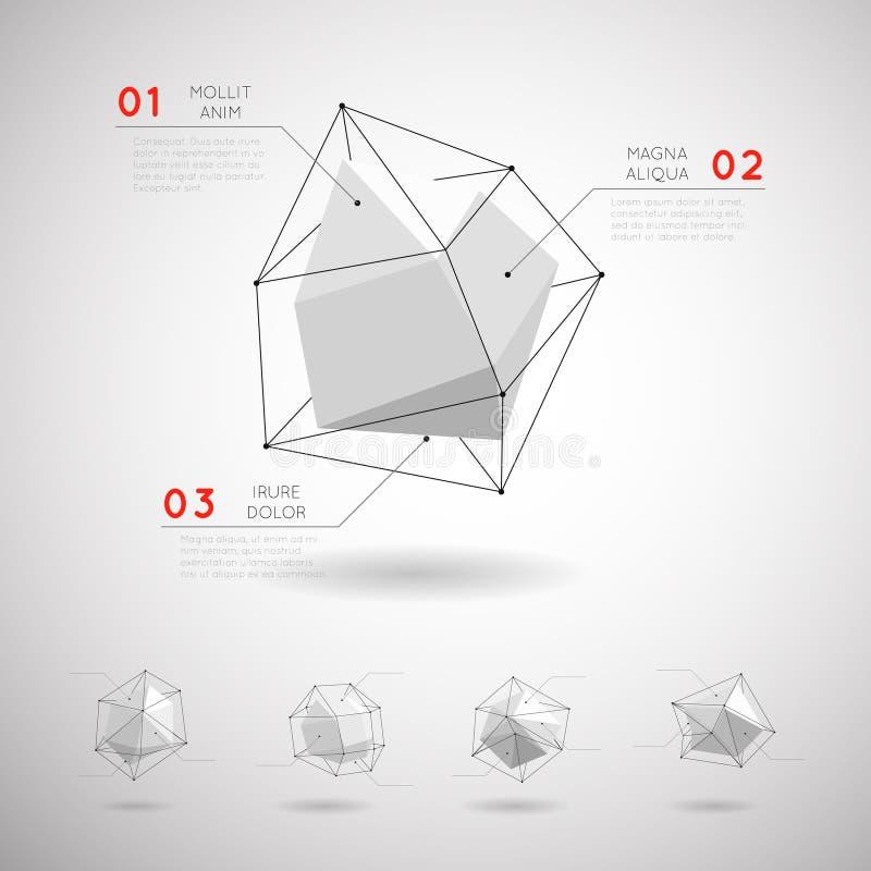 Vector lage poly veelhoekige geometrische vormen royalty-vrije illustratie