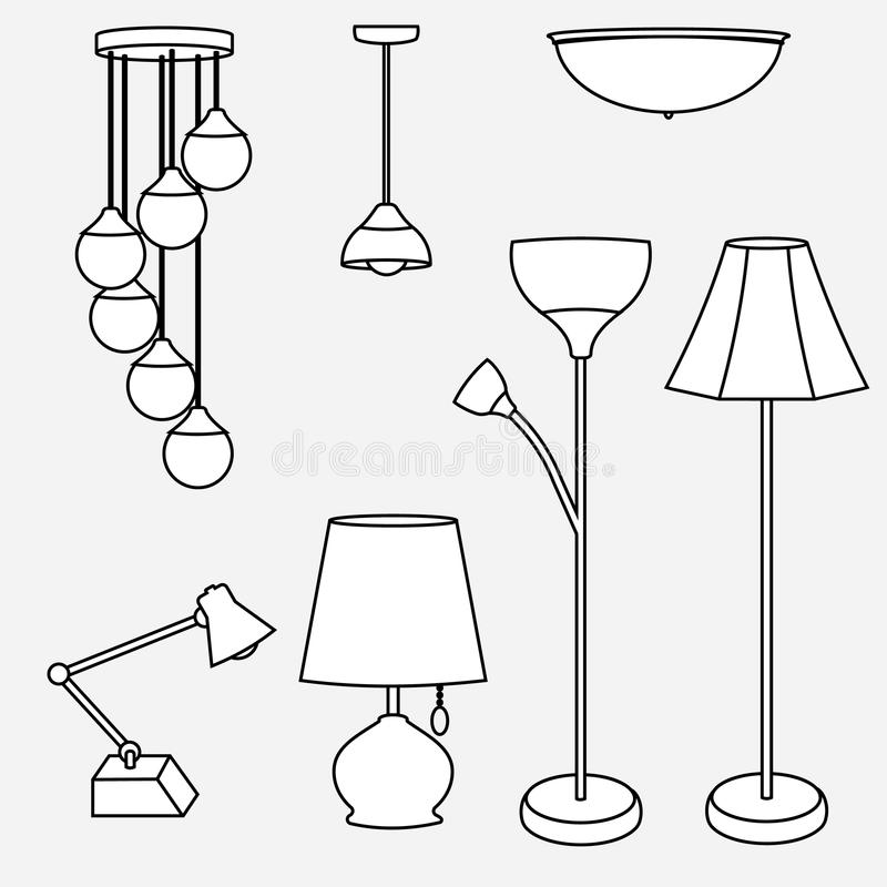 Download Vector Of Lamp Collection, Types Of Lighting Stock Illustration    Illustration Of Drawing,