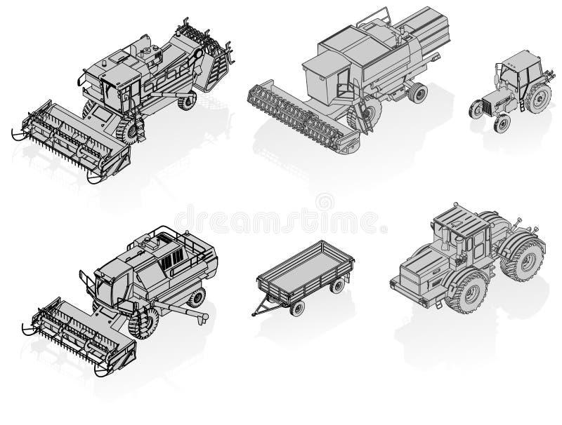 Vector landbouw geplaatste voertuigen stock illustratie