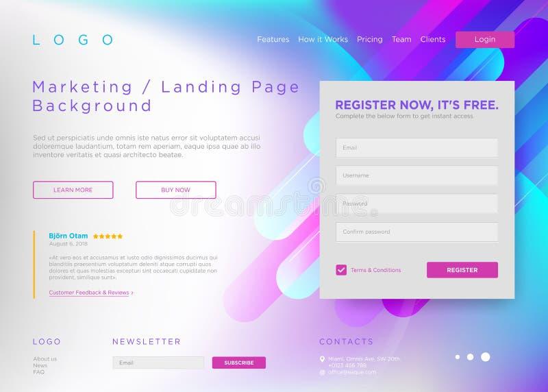 Vector Landende Paginaachtergrond Marketing Minimaal Ontwerp royalty-vrije illustratie