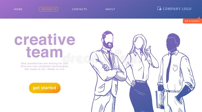 Vector landing page design concept for business creative team work, success solutions, deal and support with office people stand t stock illustration