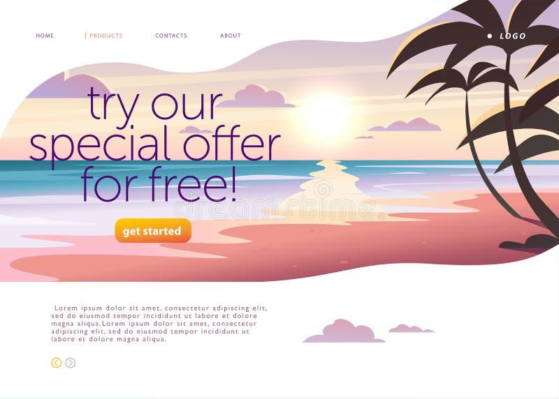 Vector Landing Page Design Vorlage mit schönen flachen Sonnenuntergang Meer mit Palmen Landschaftsbild Abbildung vektor abbildung