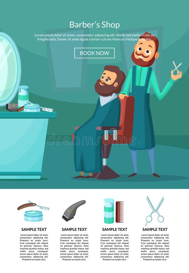 Vector landing page illustration with barber doing a haircut to a client insalonwith table and mirror. Barbershop interior, hairstyle salon vector illustration