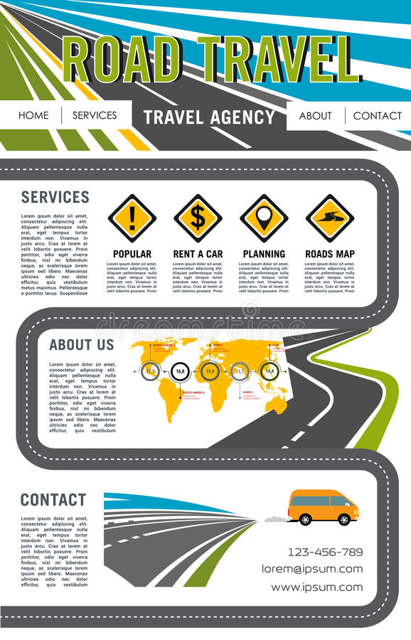 Vector landing page site for road travel company. Road travel company vector landing page or web site layout template with navigation buttons. Tourist trip tour vector illustration