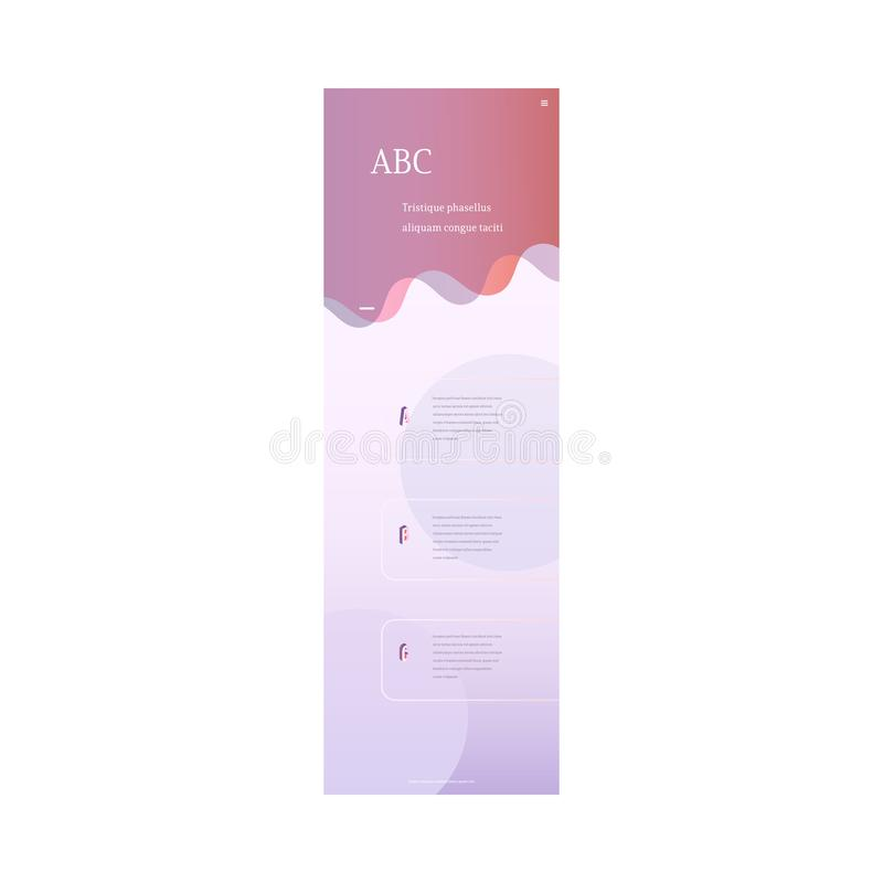 Vector landing page trendy vibrant gradient. Trendy landing page template, web site background with vibrant gradient purple red color abstract shape, text space stock illustration