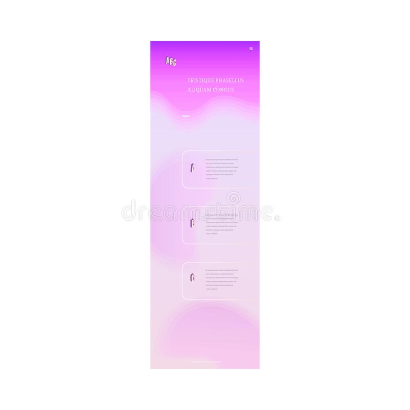 Vector landing page trendy vibrant gradient. Trendy landing page template, web site background with vibrant gradient purple violet color abstract shape, text royalty free illustration