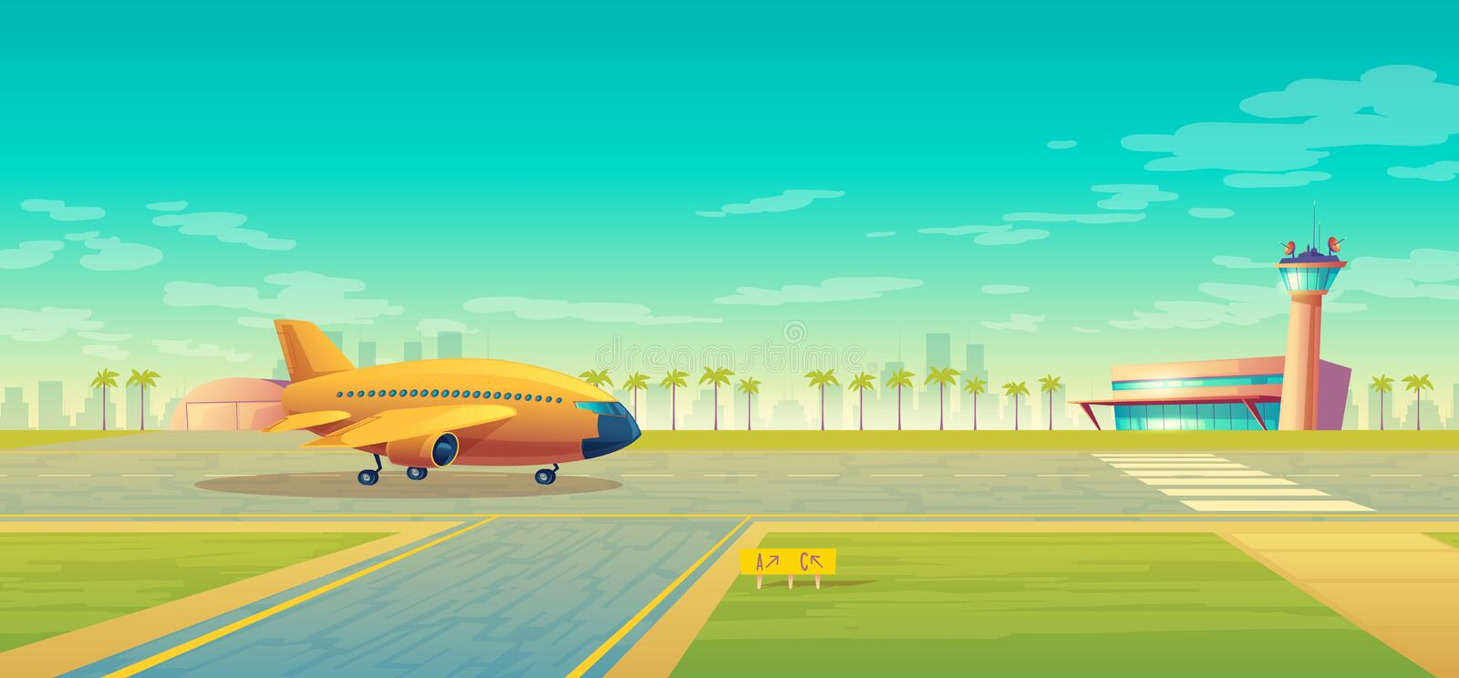 Vector landing strip for airplanes, terminal near stock illustration