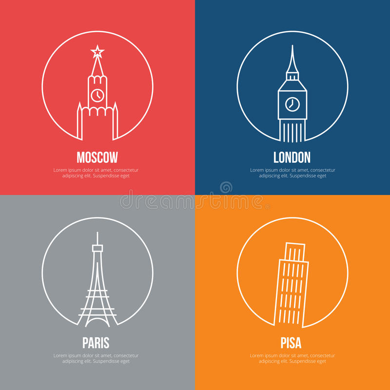 Vector landmarks line art posters. Leaning and Eiffel tower, london and moscow, paris and Kremlin, Big Ben and Britain vector illustration