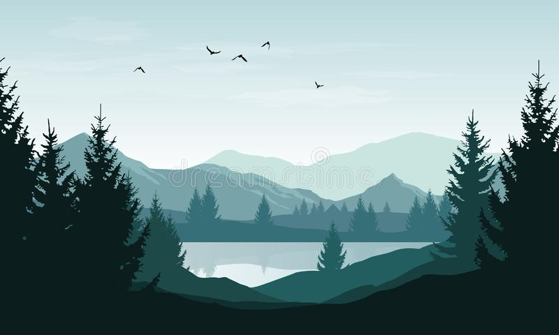 Vector landscape with blue silhouettes of mountains, hills and forest and sky with clouds and birds royalty free illustration