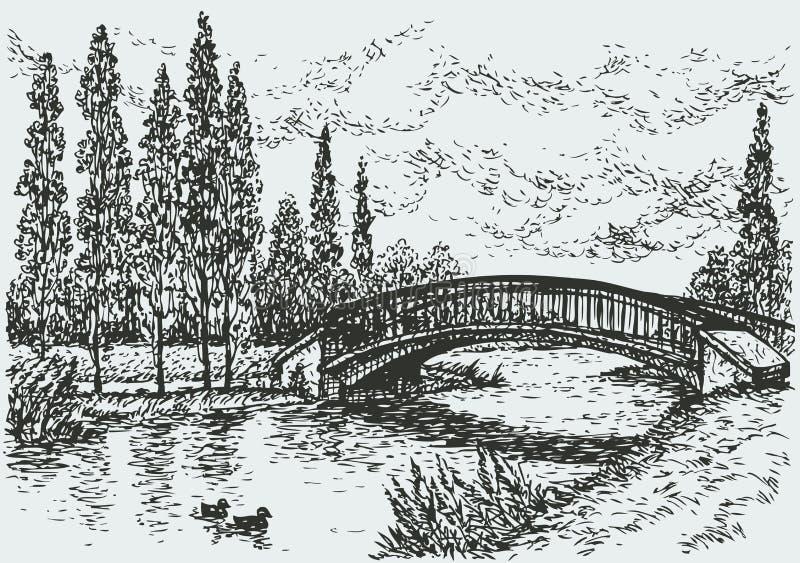 Vector landscape. Bridge over river and poplars along the road stock illustration