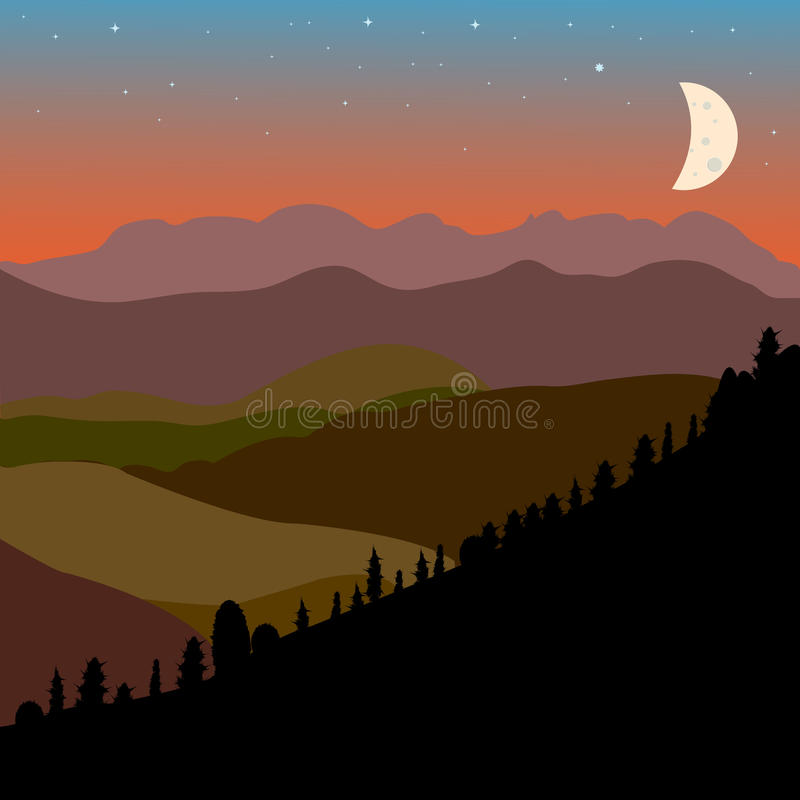 Vector landscape with brown, green and black mountain hills sil. Houette and moon, design royalty free illustration