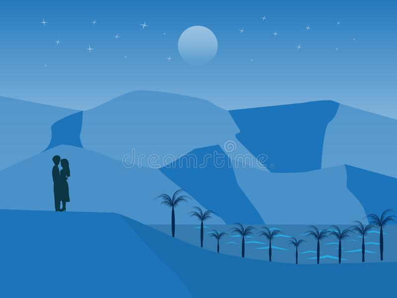 Vector landscape with couple standing on the hill stock illustration