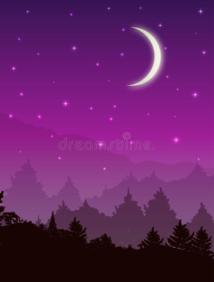 Vector landscape with forest at night. Pink sky with stars and glowing moon.  vector illustration