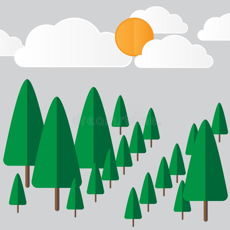 Vector landscape with forest and sun royalty free stock photo
