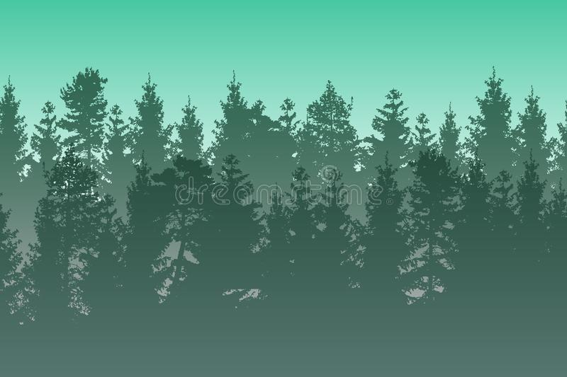 Vector landscape with green layered misty coniferous forest. Vector landscape with green layered misty coniferous forest vector illustration