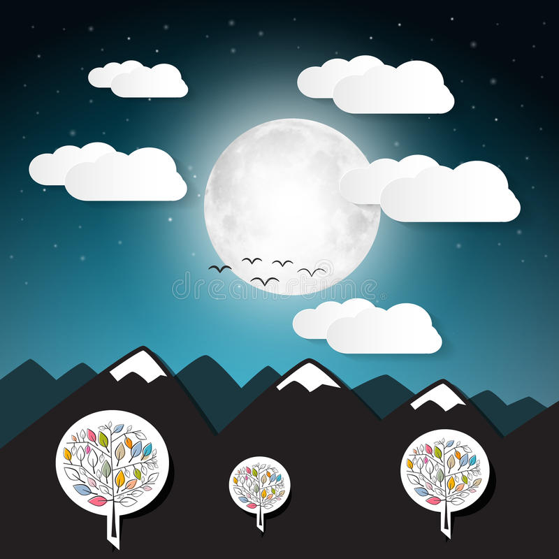 Vector Landscape Illustration with Full Moon vector illustration