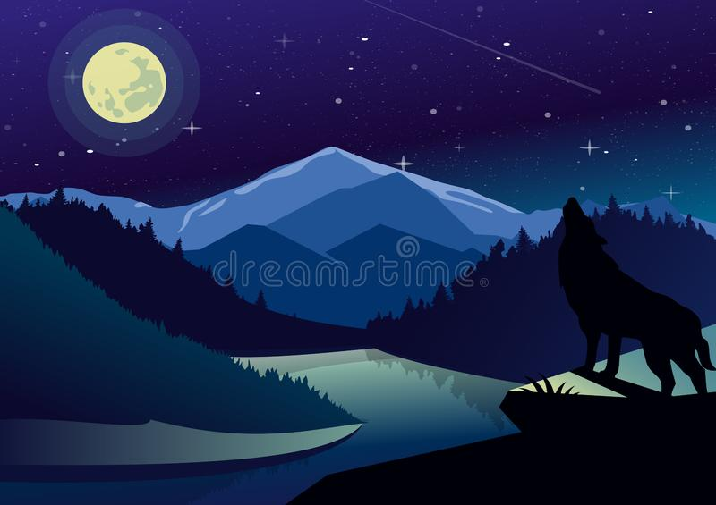 Vector landscape illustration with mountains and forests in night time. Wolf on the top of mountain howling at the moon. On background of river view, dark sky vector illustration