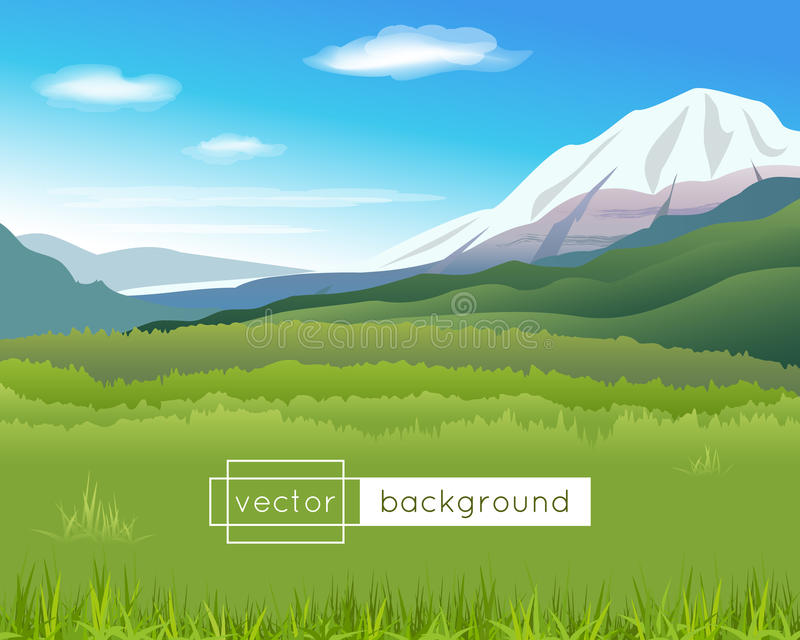 Vector landscape with mountains, blue sky, clouds. And green grass in the sunny summer day in gradient colors for use as a template of banner, backdrop, poster vector illustration