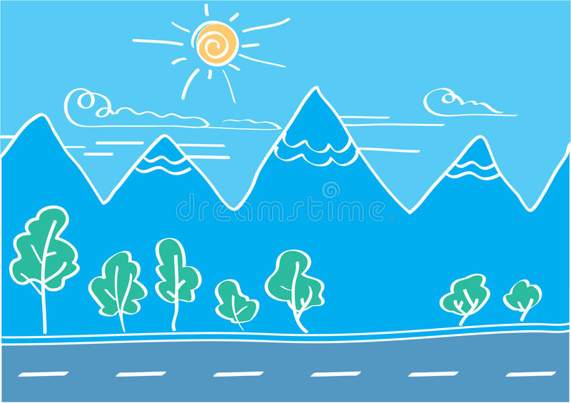 Vector landscape of mountains and road stock photo