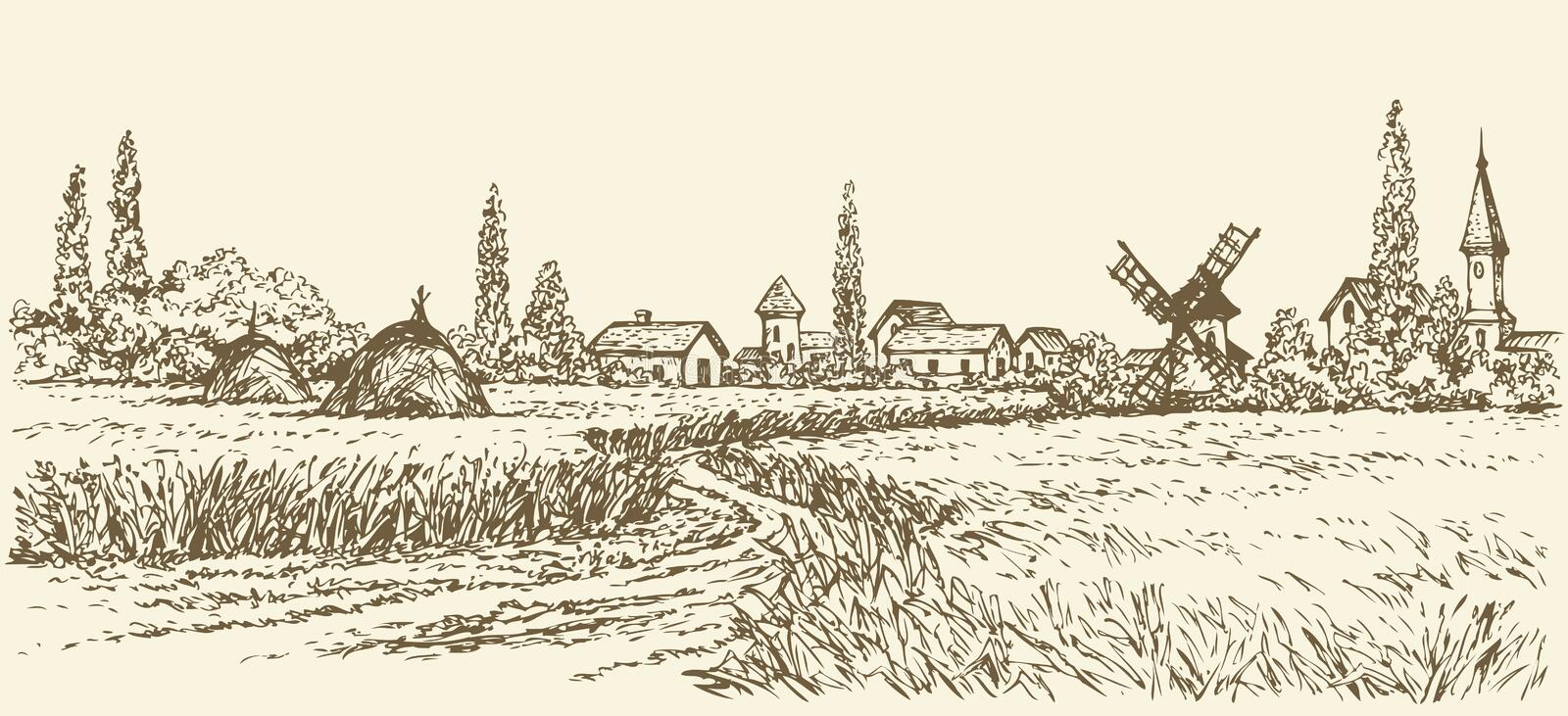 Vector landscape. Path through fields to windmill royalty free illustration
