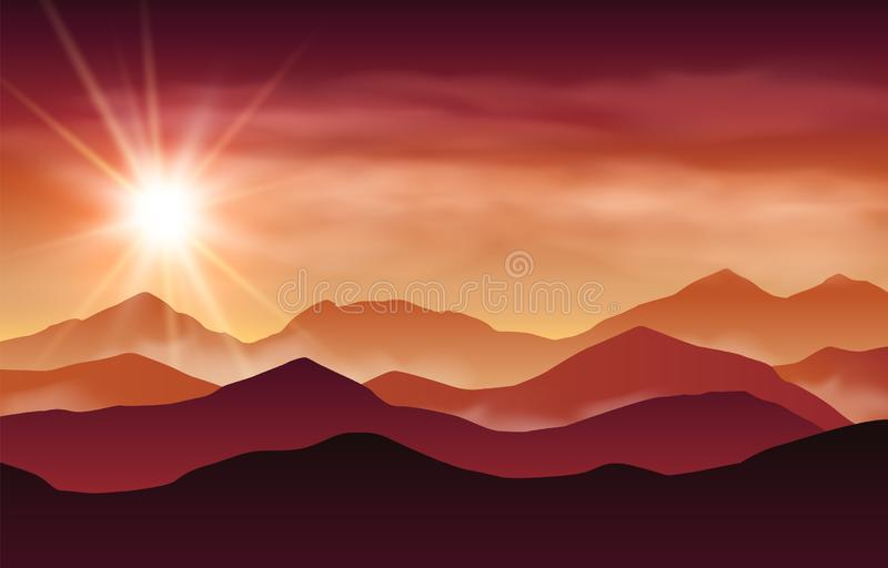 Vector landscape with red, purple and orange silhouettes of hills and mountains and sunset sky with light rays and clouds vector illustration