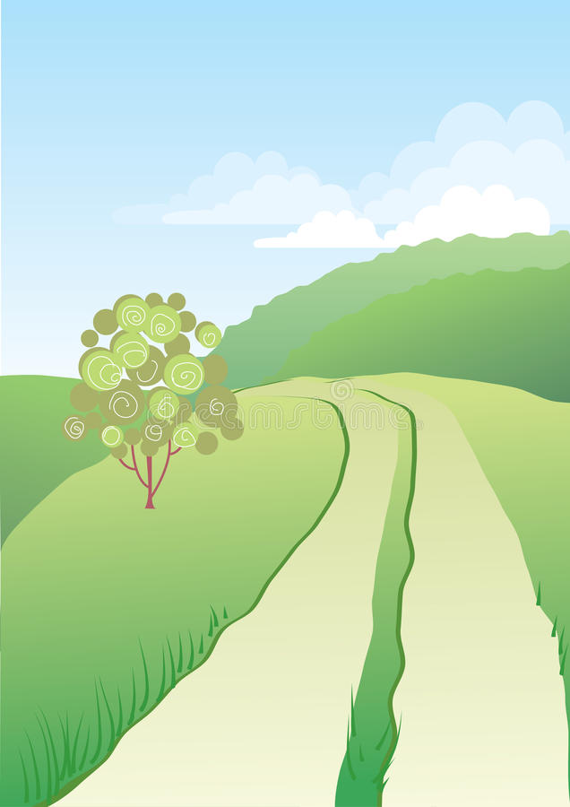 Vector landscape with road royalty free stock photography