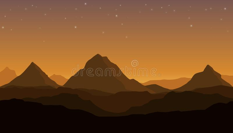 Vector landscape with silhouettes of hills and mountains from hot dessert and orange sunset sky royalty free illustration