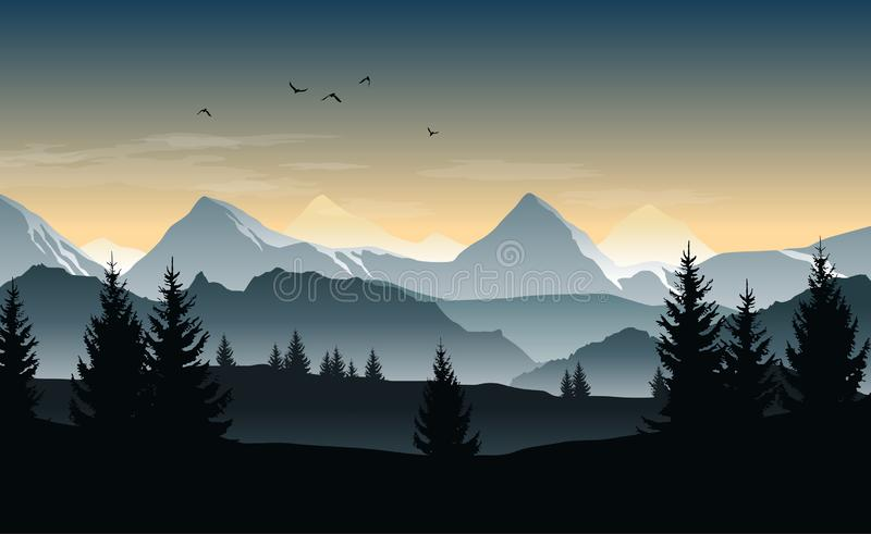 Vector landscape with silhouettes of trees, hills and misty mountains and morning or evening sky vector illustration